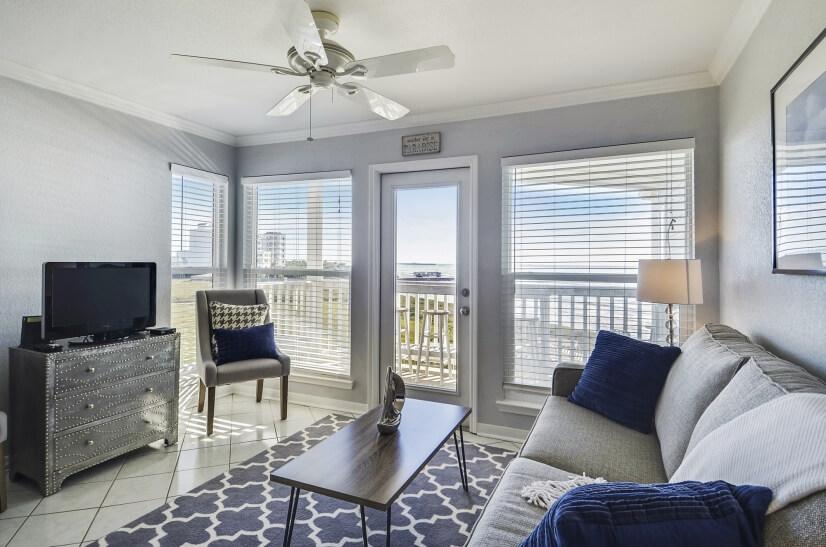 Seascape Living Area with Modern Decor & Gulf