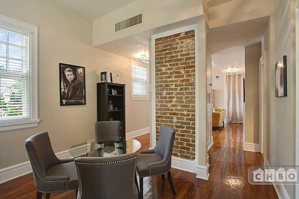 Dining Room and exposed brick