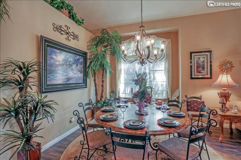 Close up of formal dining area.
