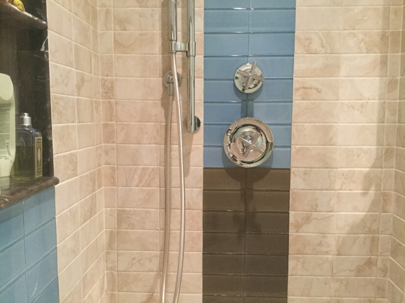 The large, newly tiled spa shower in the Master Bath.