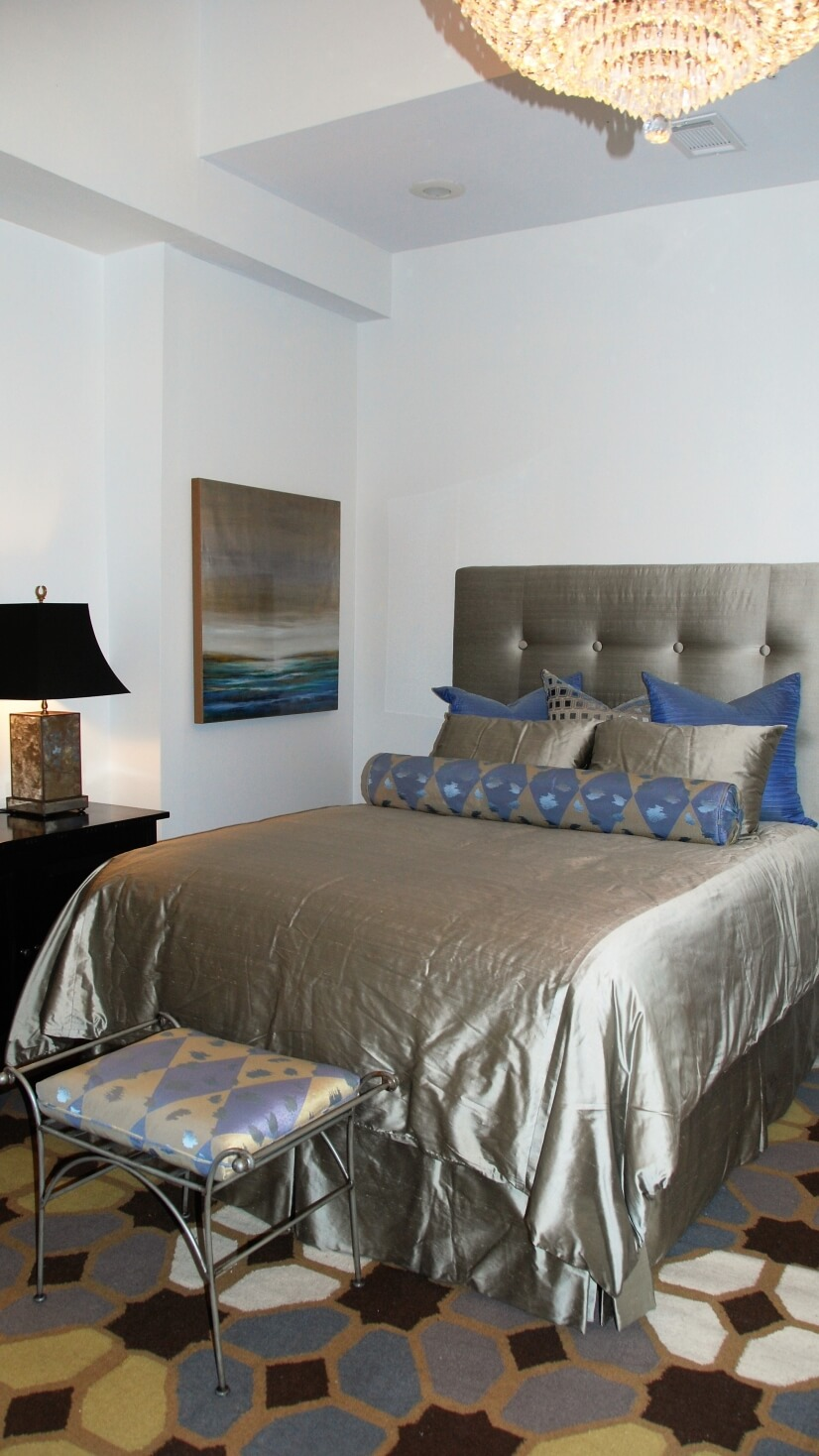 Large Master Bedroom with Queen Bed & Raw Silk Bedding