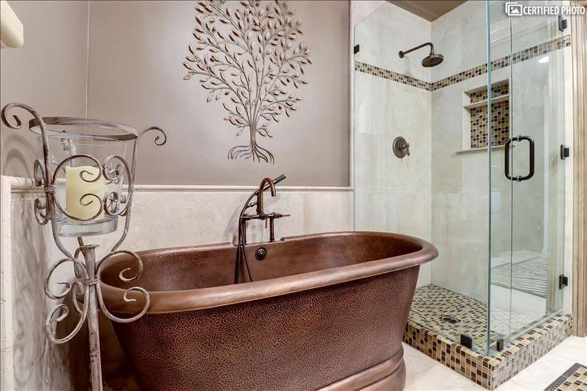 Spa copper tub and shower