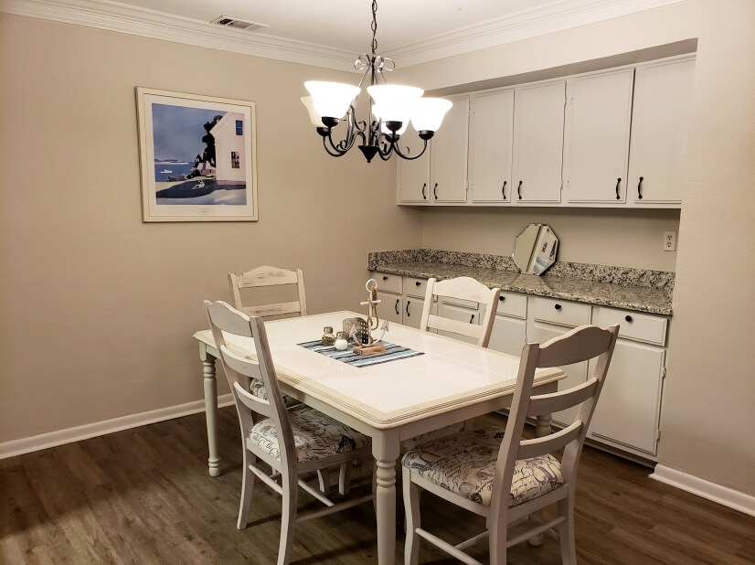 Dining room can seat up to 6; has buffet counter