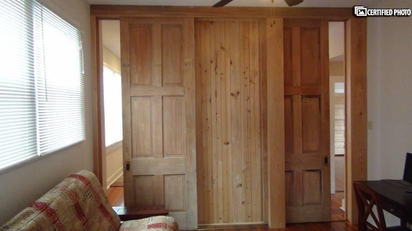 Den / Study Floor-Ceiling Sliding Wooden Doors