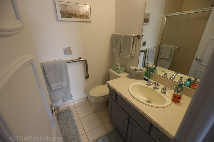 En suite master bath with walk-in shower.