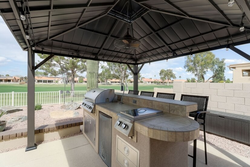 BBQ, burner, fridge, and bar