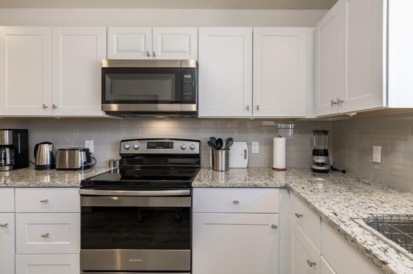Shiny new appliances in kitchen