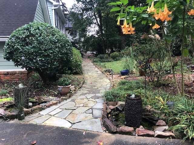 Front Walkway with 2 fountains