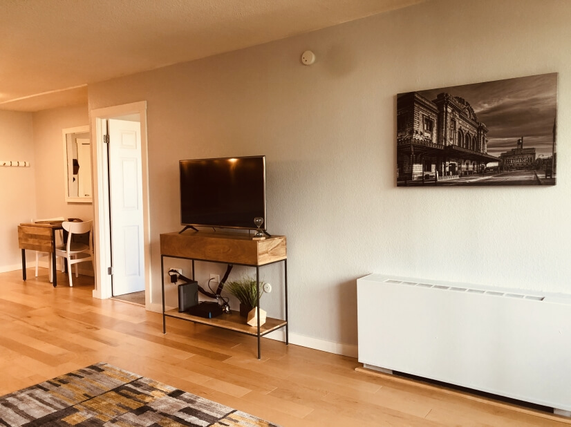 Modern furnishings and local artwork.