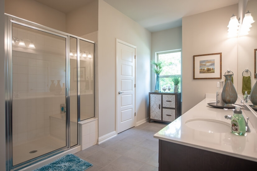 Master bath with large Shower and Double Vani