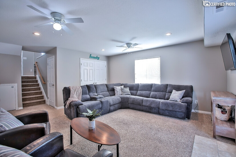 Plenty of seating in the comfortable family room