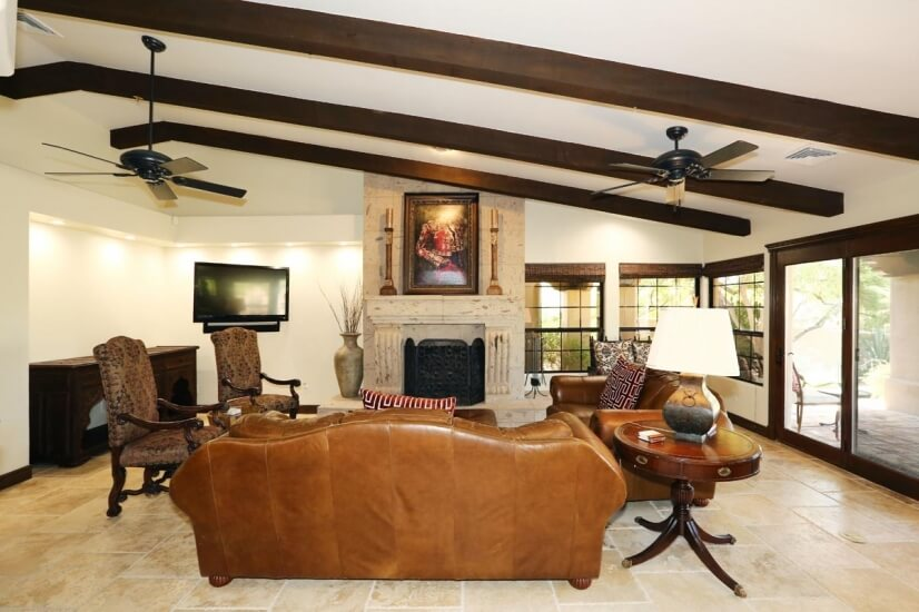 Family Room with smart TV and real fireplace