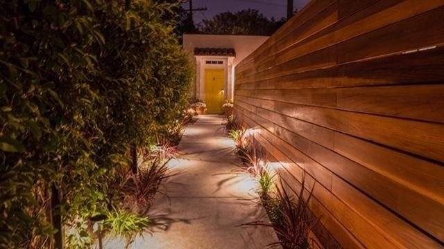 Night time walkway is relaxing, well lit and secure.