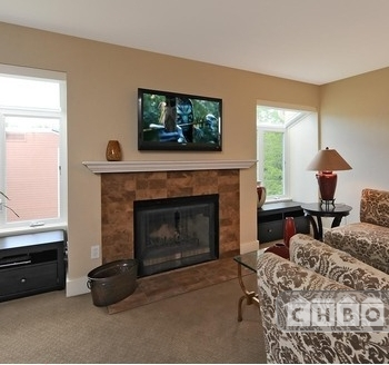 Comfortable living room with HD TV