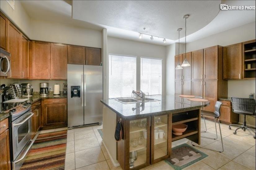 Kitchen with cabinet storage