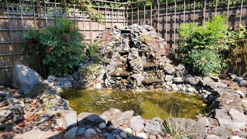 Relaxing sounds of water feature in Garden