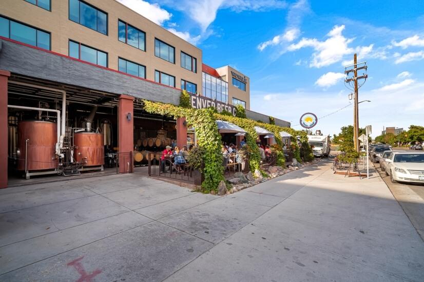 Denver Beer Co taproom with food trucks.