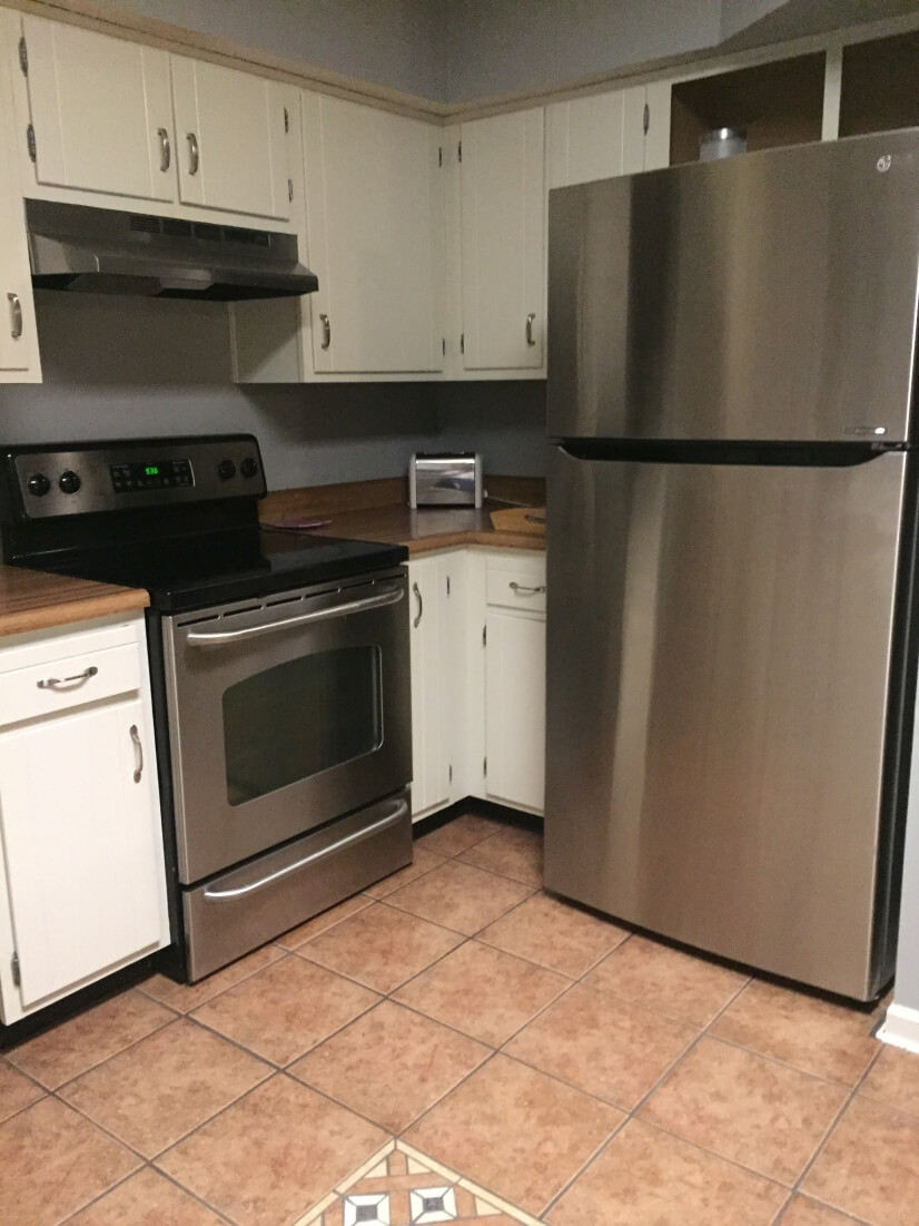 Stainless steal appliances including a dishwa