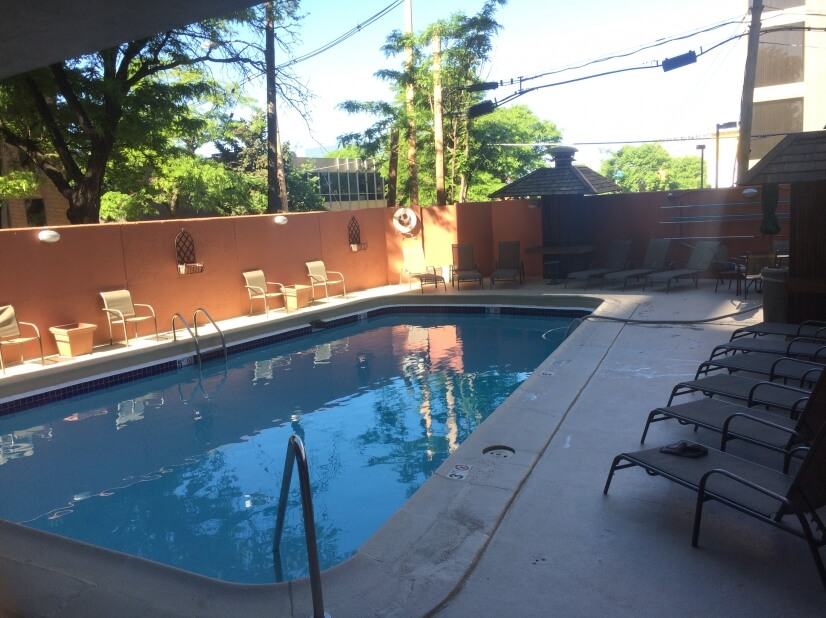 Outdoor pool to cool off in.