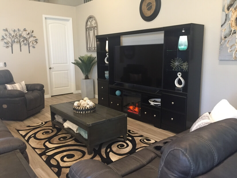 Built in electric fireplace with option to ge