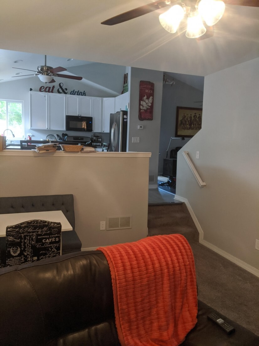 Looking up to kitchen area
