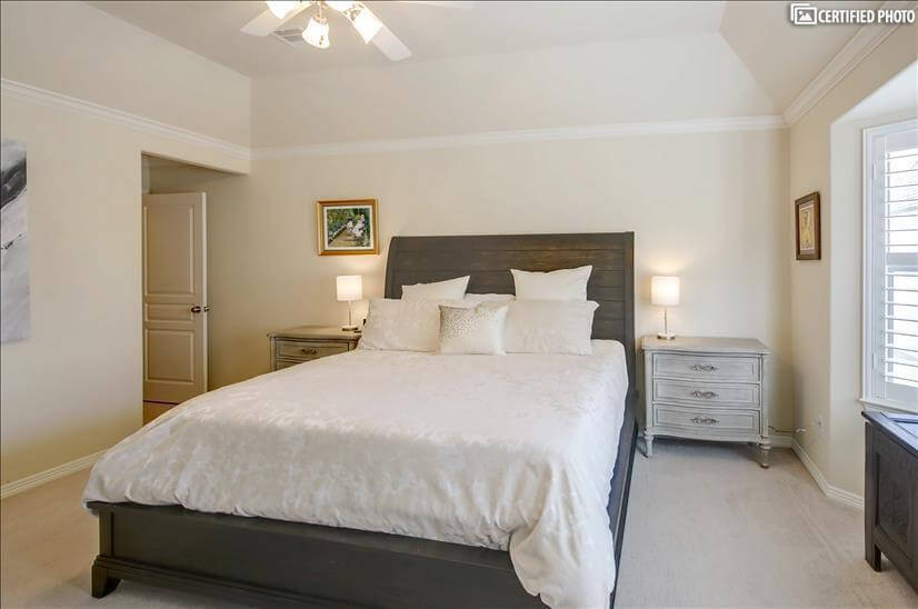 King size bed with large nightstands