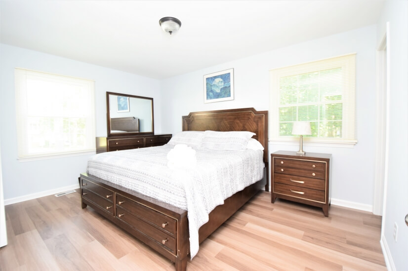 Master bedroom with comfortable king size bed