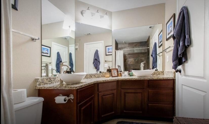Bathroom with Double Vessel Sinks
