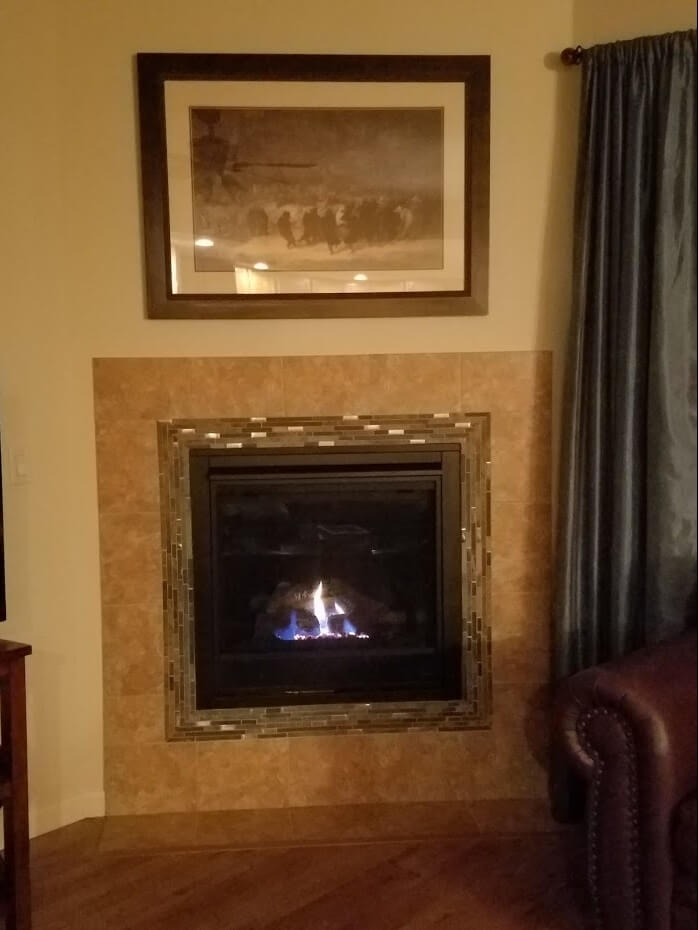 A gas fireplace creates a cozy retreat