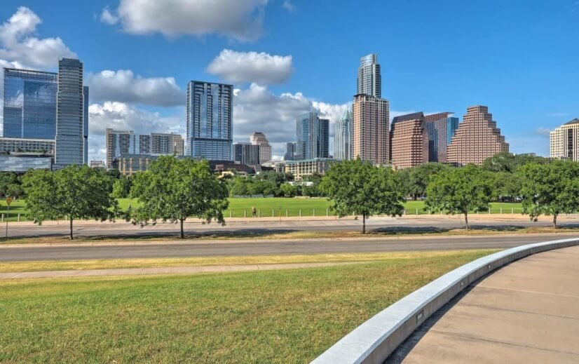 Austin skyline from Auditorium Shores on Lady
