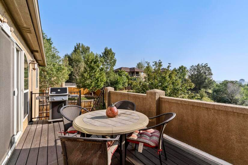 Enjoy grilled food on the deck with a table to relax at