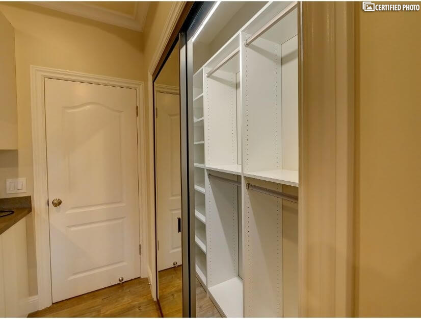 Studio B - Large closet with built in organizers.