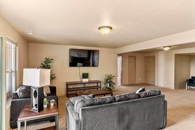 Enjoy your favorite movie in the downstairs living room