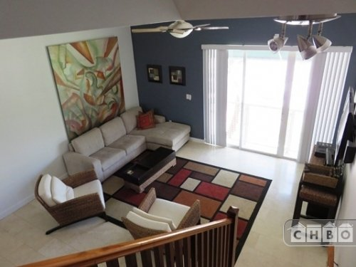 Living Area with 50 inch HDTV and Balcony