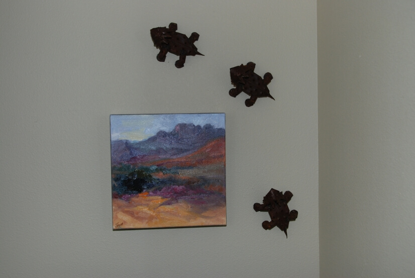 Original Southwest oil with metal sculpted Texas horny toads