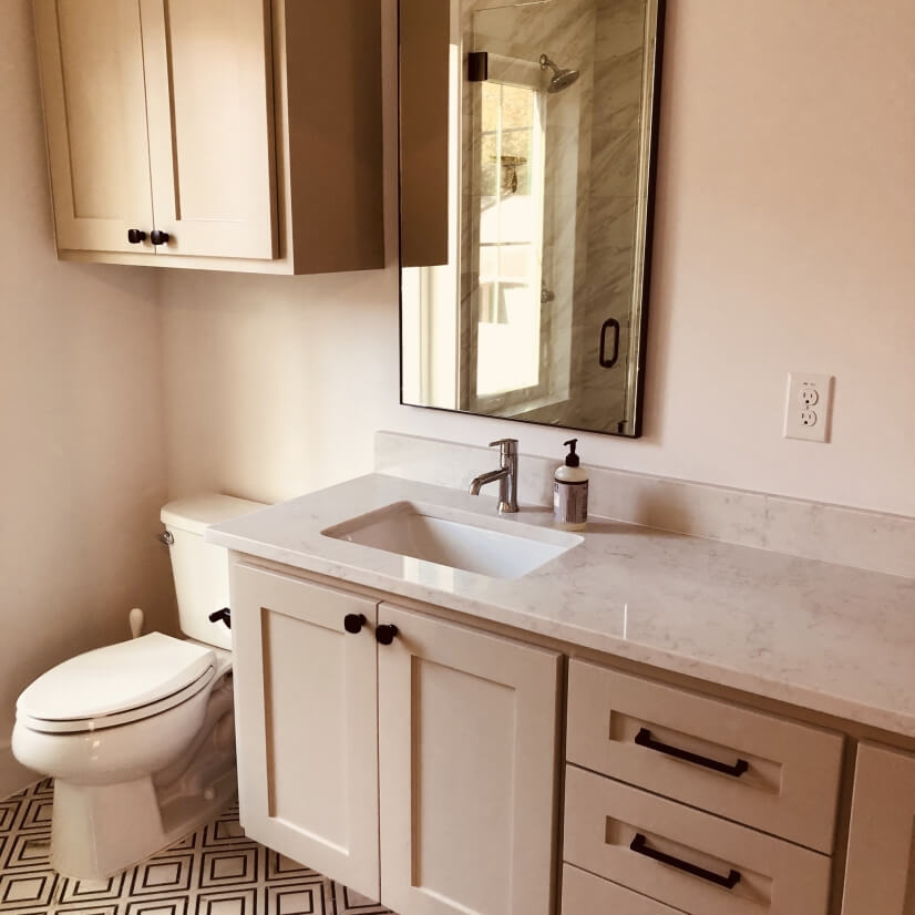 Upstairs bathroom: shower and double sinks