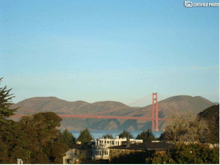 View of Golden Gate Bridge from Bed