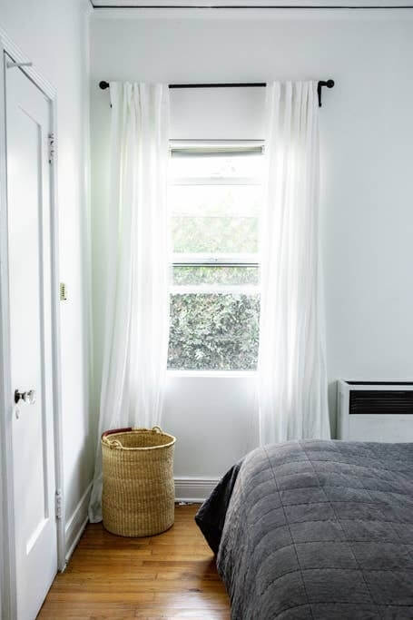 Bedroom with lots of natural light, Parachute linens
