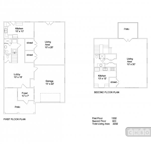 Floor plan. Lobby now exercise room. A downstairs, B up.