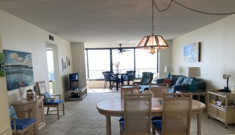 Open concept view of dining and living room a