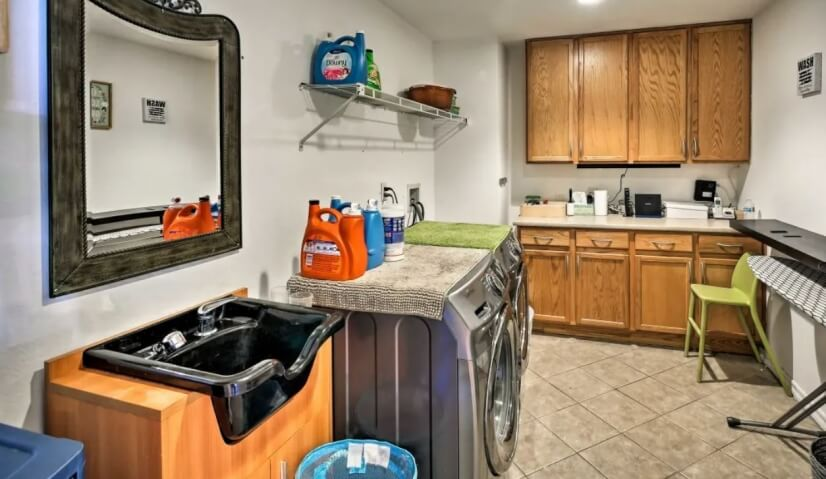 Utilize the iron/board, washer, dryer, and si