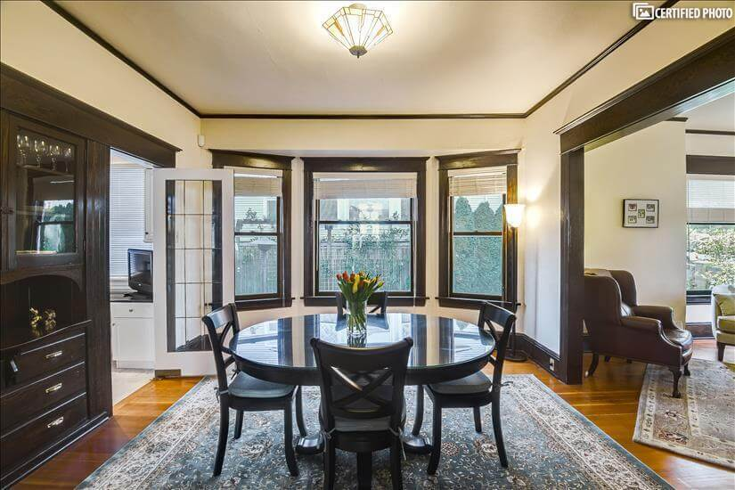 Formal dining with built-in sideboard.  High