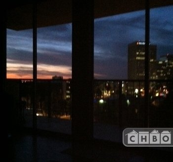 Evening view of sunset from inside the condo
