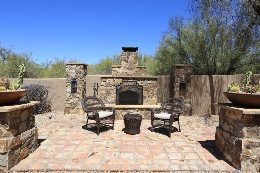 several sitting areas/ outdoor fireplace