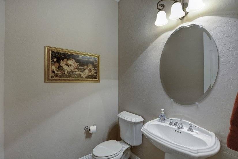 Powder room bath entrance living area