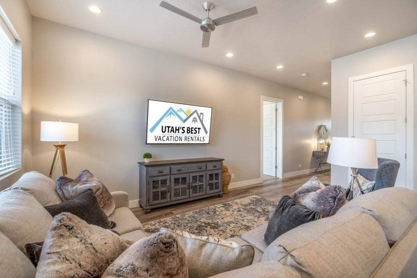 Family Room with comfortable sectional and TV