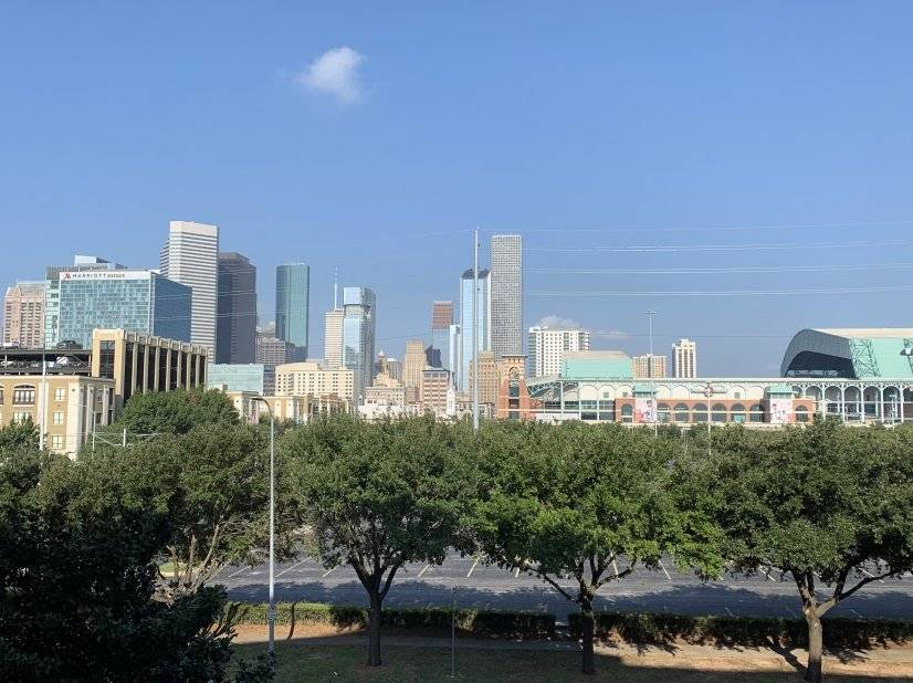 View of Houston downtown skyline from private balcony.