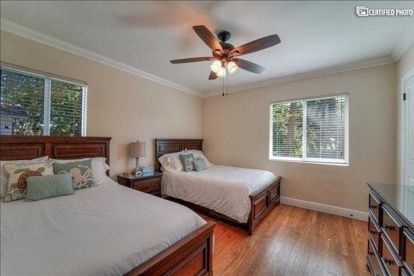 2 Full size beds, plenty of storage in dresser, closet.