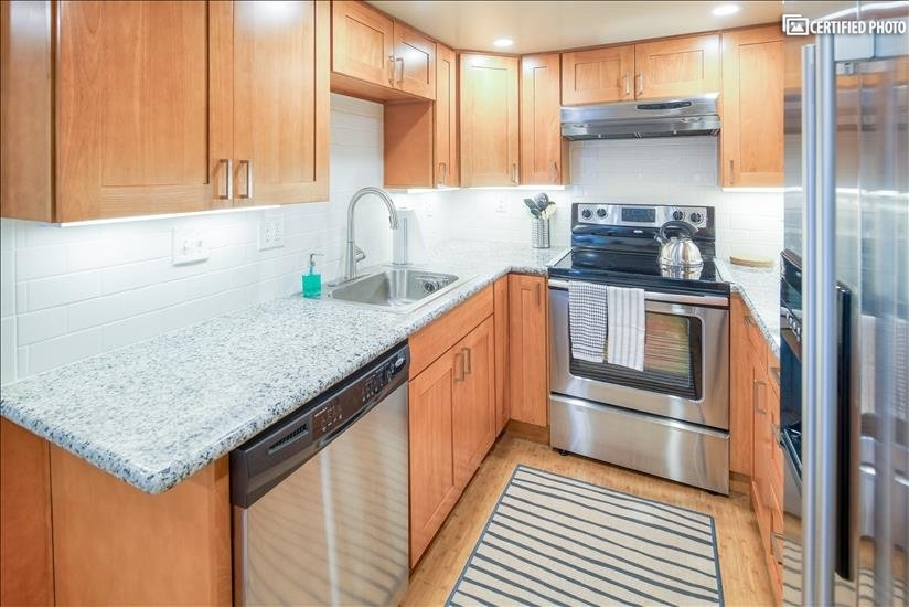 Full sized dishwasher and lighting under the cabinets
