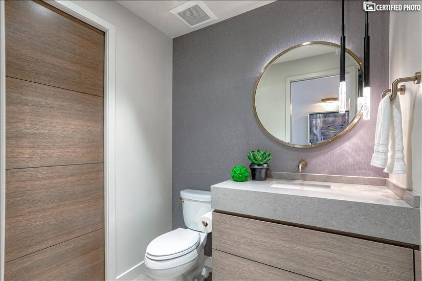 Powder bath, with incredible wall coverings!
